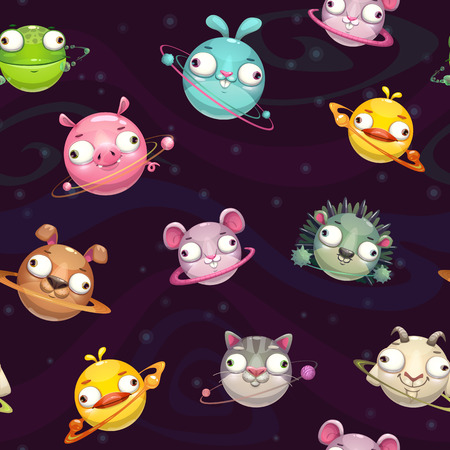 Seamless pattern with funny cartoon round animal planets on the space background. Comic childish texture tile. Vector illustration.
