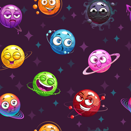 Seamless pattern with funny planets on the space background. Cartoon childish cosmic texture. Vector illustration. Çizim