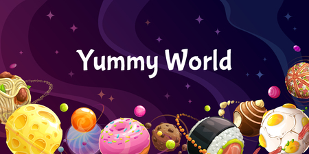 Yummy world. Colorful cartoon food planets on the space background. Restaurant advertising creative design. Horizontal web banner. Çizim