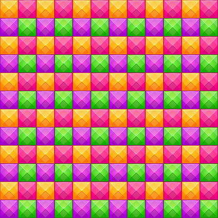 Colorful abstract mosaic seamless pattern. Vector texture with square jewel stones.