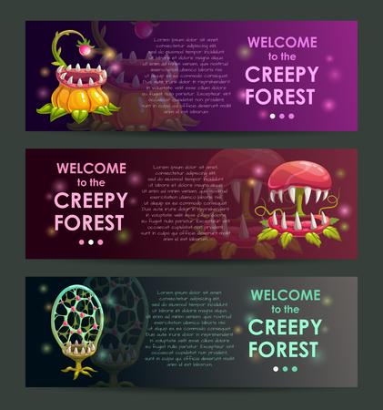 Creepy forest banners concept. Predator plants illustraions set. Çizim