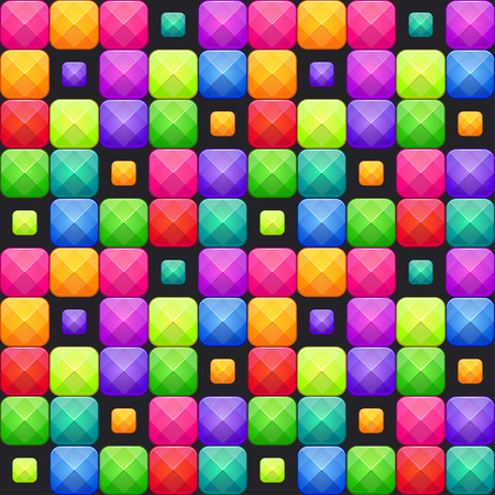Colorful abstract mosaic seamless pattern. Vector texture with multicolored bright square blocks. Game board screen. Çizim