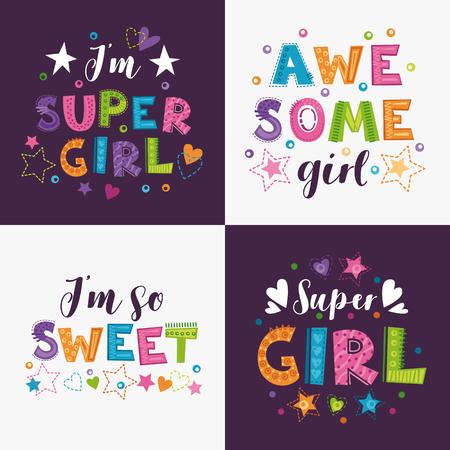 Trendy girlish slogans with decorative elements for girlish t shirts design. Girlie prints set. Vector templates.