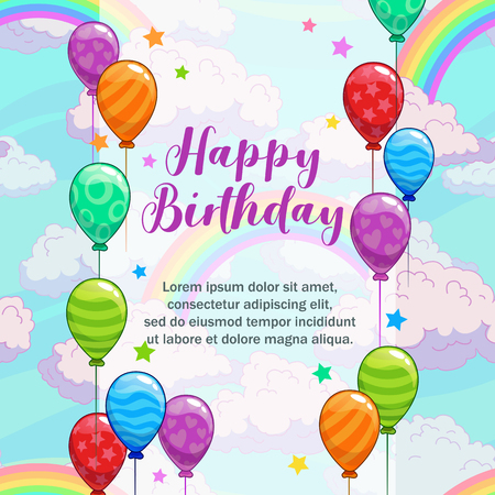 Happy birthday greetings. Greeting card with colorful balloons, clouds and rainbow. Cute vector festive illustration.