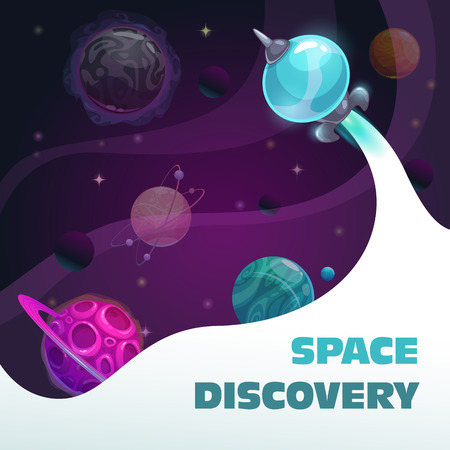 Space discovery concept, fast spaceship start. Fantasy space background with planets and rocket. Çizim