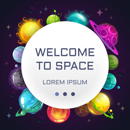 Welcome to space. Creative space background with cartoon colorful fantasy planets. Stok Fotoğraf