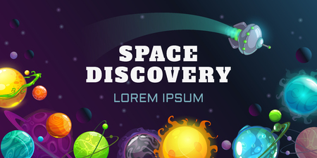 Space discovery concept illustration. Vector horizontal cosmic banner.