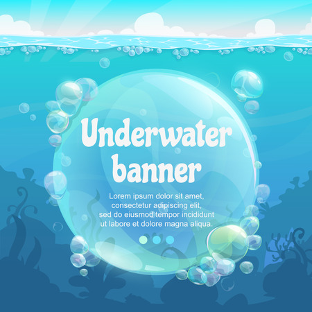 Underwater banner with shiny air bubbles on the blue sea bottom.