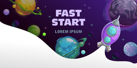 Fast start concept. Space theme horizontal banner with cartoon fantasy planets and spaceship, rocket launch vector illustration. Çizim