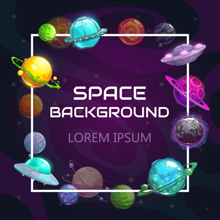 Creative space background with cartoon colorful fantasy planets. Astronomy concept background. Vector illustration. Cosmic frame. Çizim