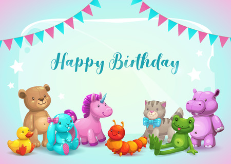 Happy Birthday illustration. Cute vector greeting card.
