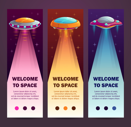 UFO vertical banners. Set of vertical long templates with cartoon alien spaceships. Vector illustration.