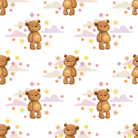 Seamless pattern with little cute cartoon stuffed bear toys and stars. Vector childish texture.