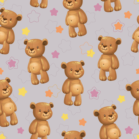 Seamless pattern with little cute cartoon stuffed bear toys and stars on the grey background. Vector childish texture