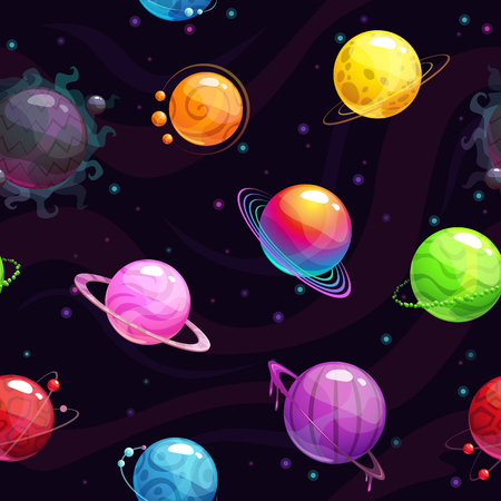 Seamless pattern with colorful cartoon fantasy planets. Vector space background Çizim