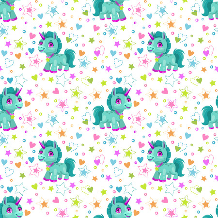 Seamless pattern with cute cartoon little unicorn, hearts and stars. Trendy childish texture for textile printing. Vector seamless background for kids. Çizim