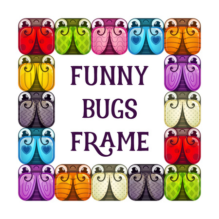 Funny bugs frame. Cartoon colorful background, square banner with stylized insects. Vector illustration.