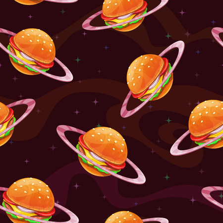 Seamless pattern with fantasy food planet on the space background. Burger texture, vector illustration. Ilustração