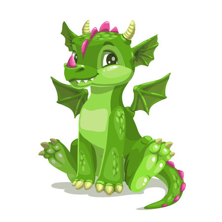 Little cute cartoon green baby dragon. Funny fantasy monster icon. Vector illustration, isolated on white.