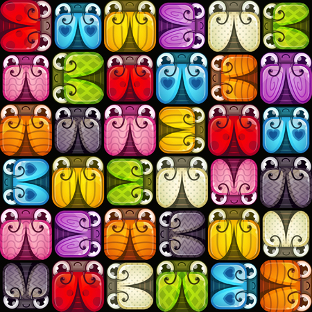 Vector seamless pattern with stylized square cartoon colorful bugs.