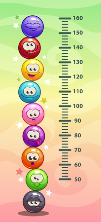Kids height chart. Wall metter with funny cartoon round emoji faces. Vector illustration. Çizim