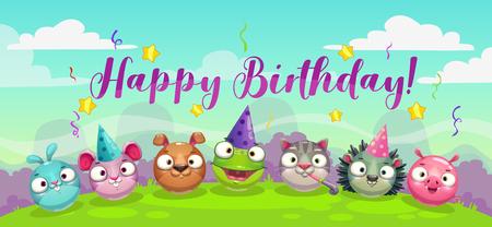 Happy Dirthday greetings. Cute childish decorative greeting card.