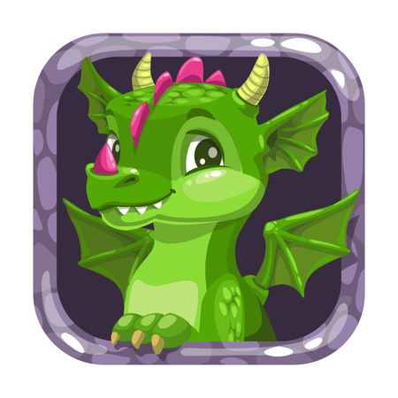 Cartoon app icon with funny green young dragon. Çizim
