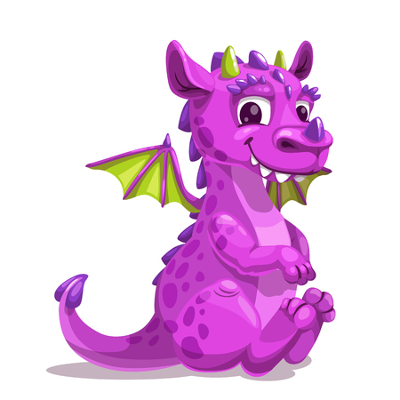 Little cute cartoon purple baby dragon. Funny fantasy monster icon. Vector illustration, isolated on white.