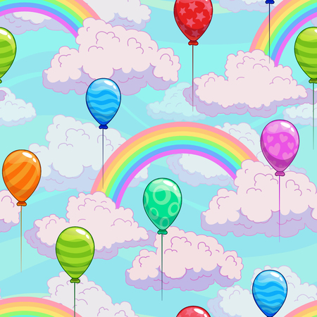 Seamless pattern with cartoon rainbows on the cloudy sky and colorful balloons. Vector illustration.