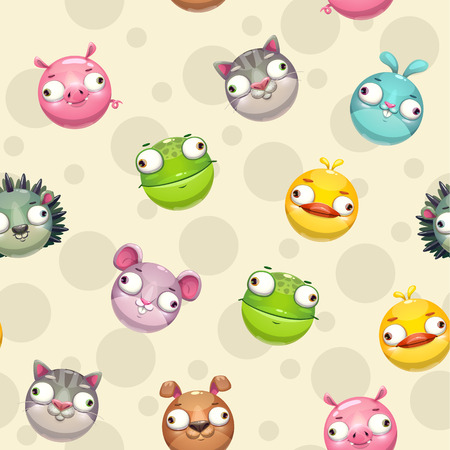 Funny seamless pattern with comic cartoon round animals. Vector childish texture. Wallpaper tile template, vector illustration.