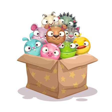 Paper box full of round stuffed animal toys. Vector childish illustration. Çizim