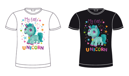 Black and white t shirt template with cute cartoon unicorn.