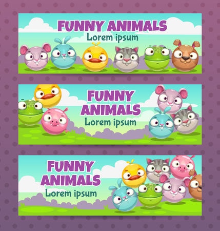 Cute childish illustration set. Horizontal banners with funny cartoon round animals. Vector templates for kids party flyers.