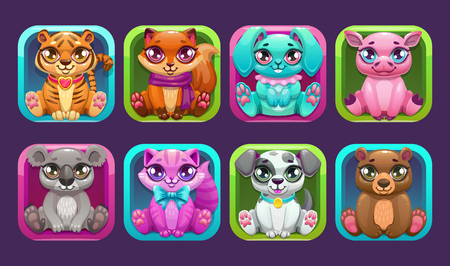 Square app icons with cute cartoon little pets.