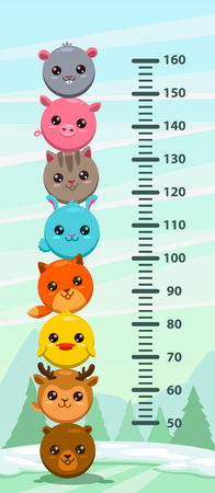 Kids height chart. Wall metter with funny cartoon round animals Vector illustration.