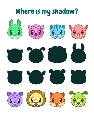 Find the correct shadow. Logic game for children.