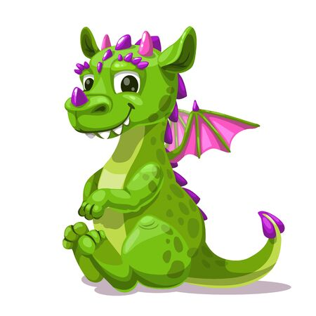 Little cute cartoon sitting green dragon. Fantasy monster icon. Vector illustration.