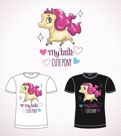 Sweet pony princess. Little cute cartoon horse label on the black and white background. Vector girlish print for t shirt design.