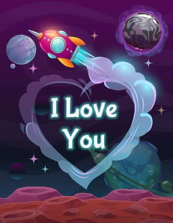 I Love You sign on the space background. Valentines Day greeting card. Stock Illustratie