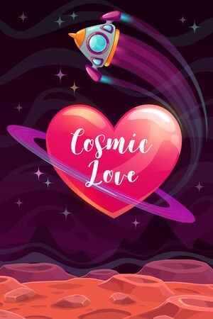 Cosmic love. Valentines Day greeting card template. Vector romantic poster.