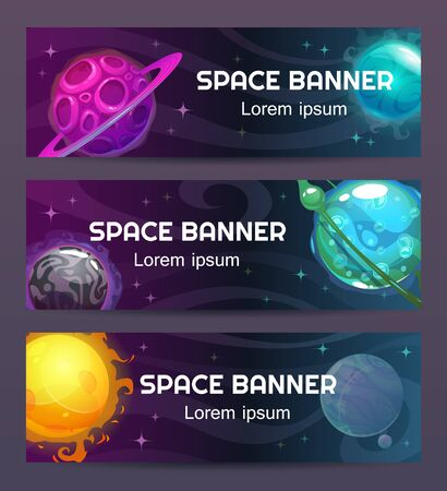 Futuristic modern horizontal space banners set. Cosmic concept. Fantasy cartoon planets on the space background. Vector illustration.