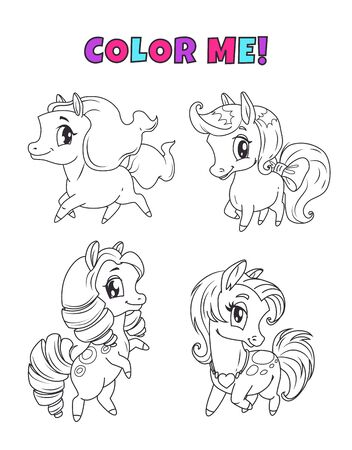 Little cute cartoon pony set. Outline horses icons for coloring book page. Vector black and white childish illustration. 向量圖像