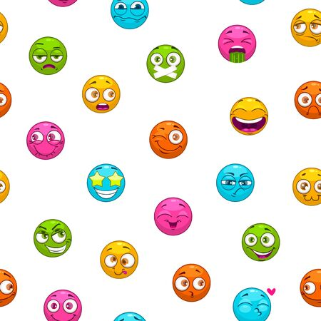 Seamless pattern with funny cartoon colorful emoji faces on white background. Vector childish texture.