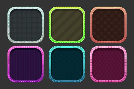 Funny cartoon colorful square frames for app icons design.