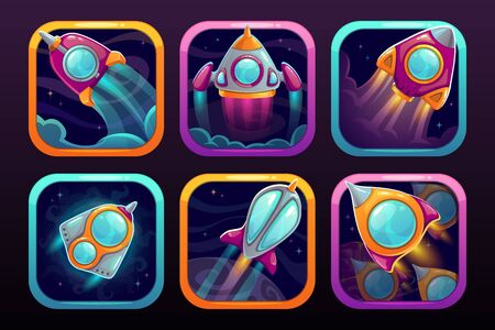 App icons with flying rockets. Space wars game logo concept. Stock Illustratie