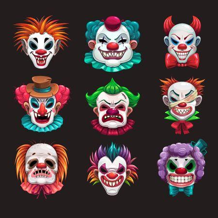 Creepy clown faces set. Scary circus elements.