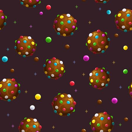 Seamless pattern with cartoon round colorful chocolate candies.