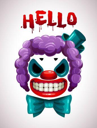 Creepy clown mask. Vector angry Joker face elements Illusztráció