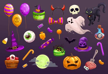 Halloween items set. Spooky elements for typography, game or web design. Çizim