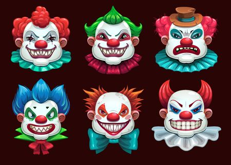Creepy clown faces set. Scary circus concept. Vector illustration Illusztráció